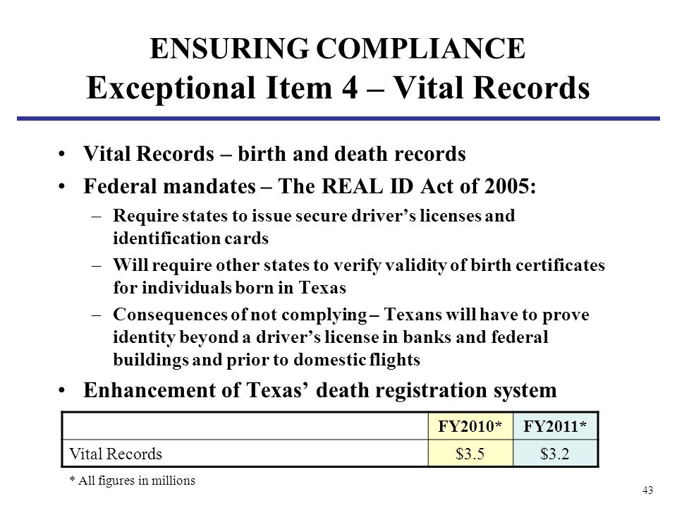 43 ENSURING COMPLIANCE Exceptional Item 4 – Vital Records Vital Records – birth and death records Federal mandates – The REAL ID Act of 2005: –Require states to issue secure drivers licenses and identification cards –Will require other states to verify validity of birth certificates for individuals born in Texas –Consequences of not complying – Texans will have to prove identity beyond a drivers license in banks and federal buildings and prior to domestic flights Enhancement of Texas death registration system FY2010*FY2011* Vital Records$3.5$3.2 * All figures in millions