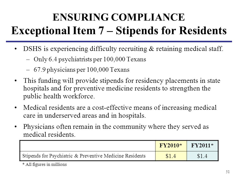 51 ENSURING COMPLIANCE Exceptional Item 7 – Stipends for Residents DSHS is experiencing difficulty recruiting & retaining medical staff.