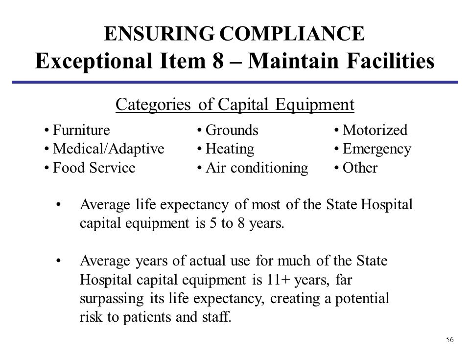 56 Average life expectancy of most of the State Hospital capital equipment is 5 to 8 years. Average years of actual use for much of the State Hospital