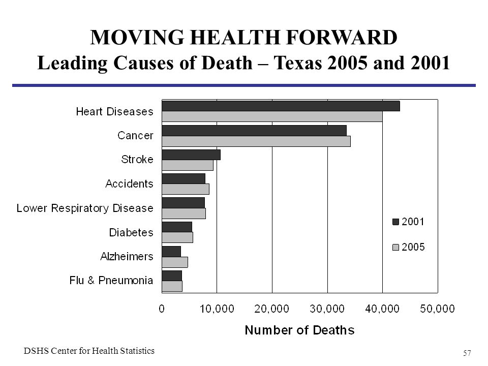 57 MOVING HEALTH FORWARD Leading Causes of Death – Texas 2005 and 2001 DSHS Center for Health Statistics