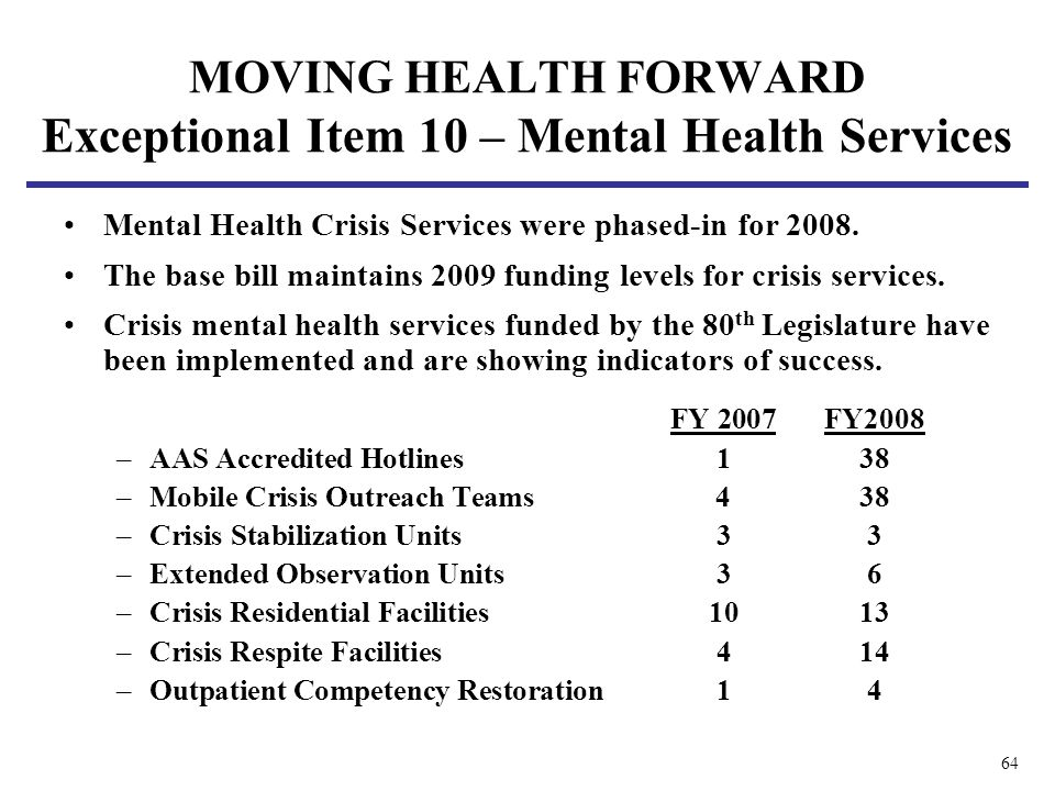 64 Mental Health Crisis Services were phased-in for 2008. The base bill maintains 2009 funding levels for crisis services. Crisis mental health servic