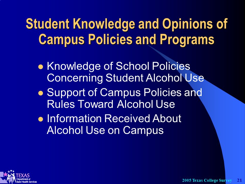 21 2005 Texas College Survey Student Knowledge and Opinions of Campus Policies and Programs Knowledge of School Policies Concerning Student Alcohol Use Support of Campus Policies and Rules Toward Alcohol Use Information Received About Alcohol Use on Campus