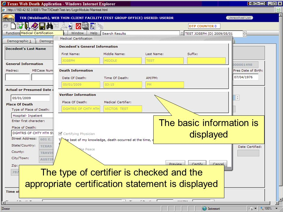 The basic information is displayed The type of certifier is checked and the appropriate certification statement is displayed