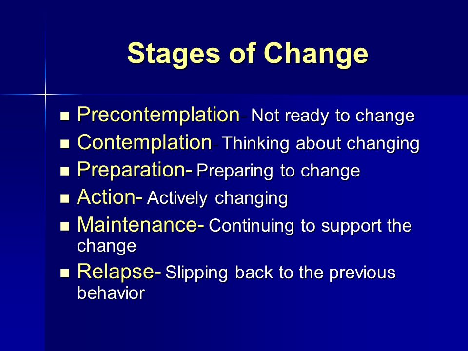 Stages of Change Precontemplation- Not ready to change Precontemplation- Not ready to change Contemplation - Thinking about changing Contemplation - T