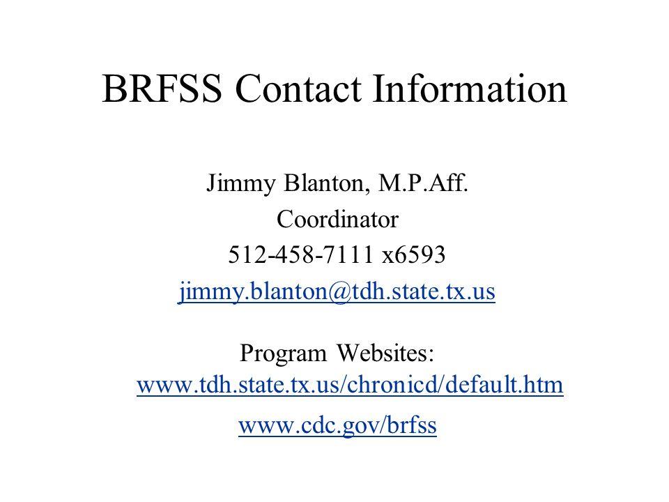BRFSS Contact Information Jimmy Blanton, M.P.Aff. Coordinator 512-458-7111 x6593 jimmy.blanton@tdh.state.tx.us Program Websites: www.tdh.state.tx.us/c