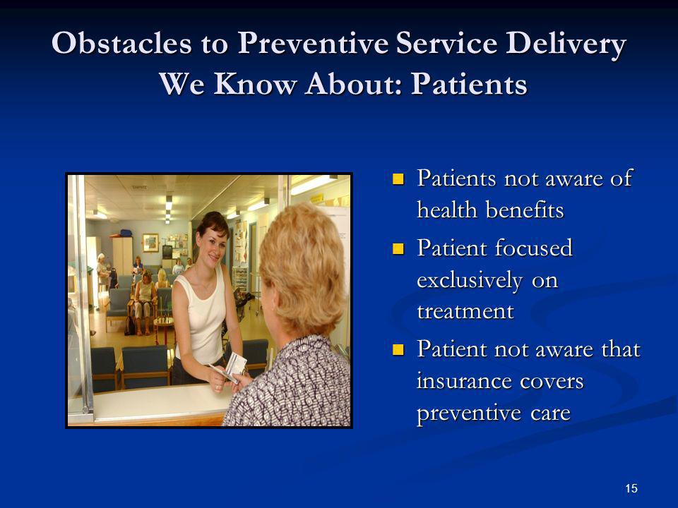 15 Obstacles to Preventive Service Delivery We Know About: Patients Patients not aware of health benefits Patients not aware of health benefits Patien