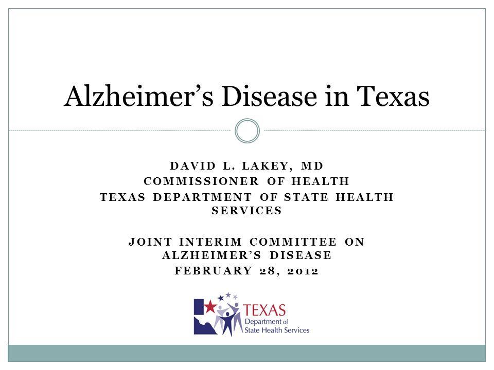 Texas Council on Alzheimers Disease and Related Disorders and DSHS Joint Activities and Accomplishments: First plan for Alzheimers Disease in Texas Focus: public health impact of projected increases in population in AD Bringing together researchers and clinicians across Texas to identify opportunities for collaborative research Currently planning a symposium to bring together all Texas Alzheimers researchers with national figures to discuss future collaborations Inclusion of prevention and brain health as a goal in the state plan Cognitive impairment was part of the Behavioral Risk Factor Surveillance System for 2011 – data available in May 2012 First effort in Texas to identify best practices for active medical management of AD 12