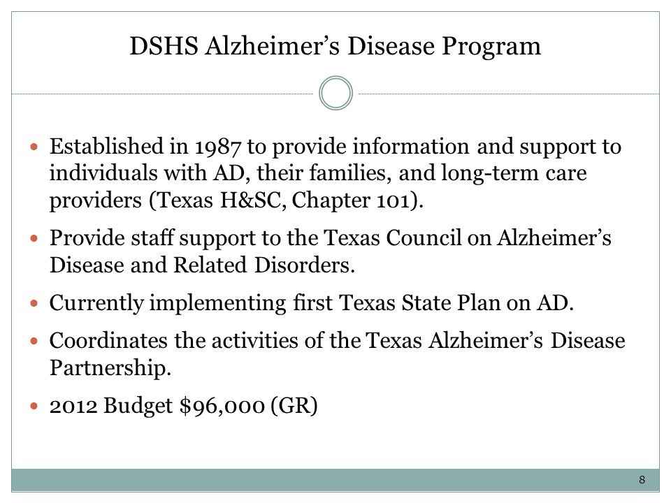 Texas Council on Alzheimers Disease and Related Disorders (TCADRD) Established in 1989 Seventeen member council Serves as the state s advocate for persons with AD and those who care for them (Texas H&SC, Chapter 101).