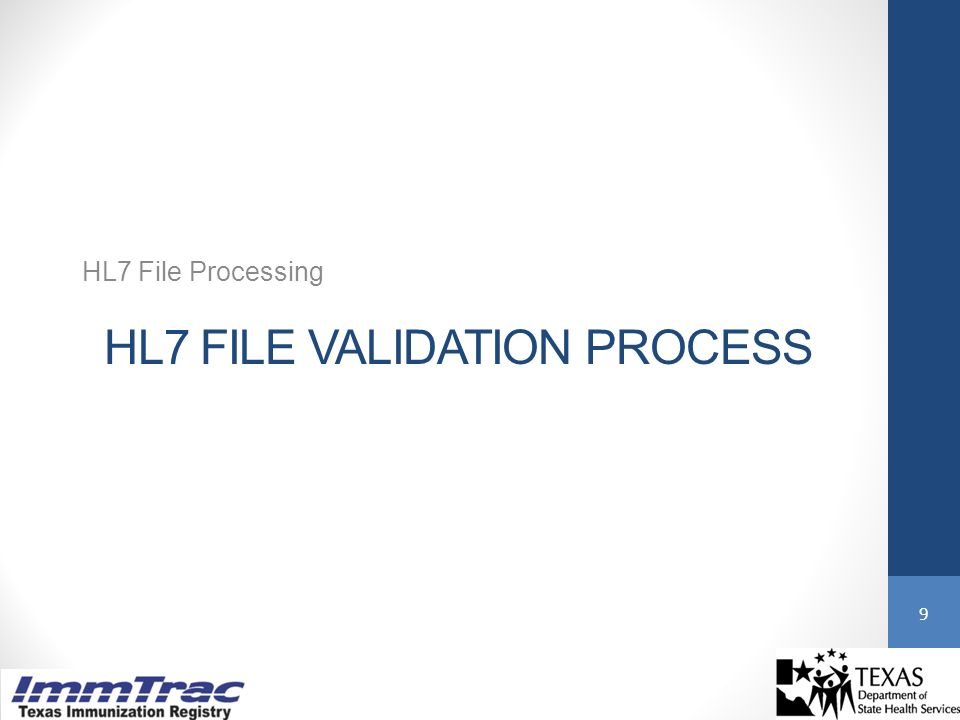 HL7 FILE VALIDATION PROCESS HL7 File Processing 9