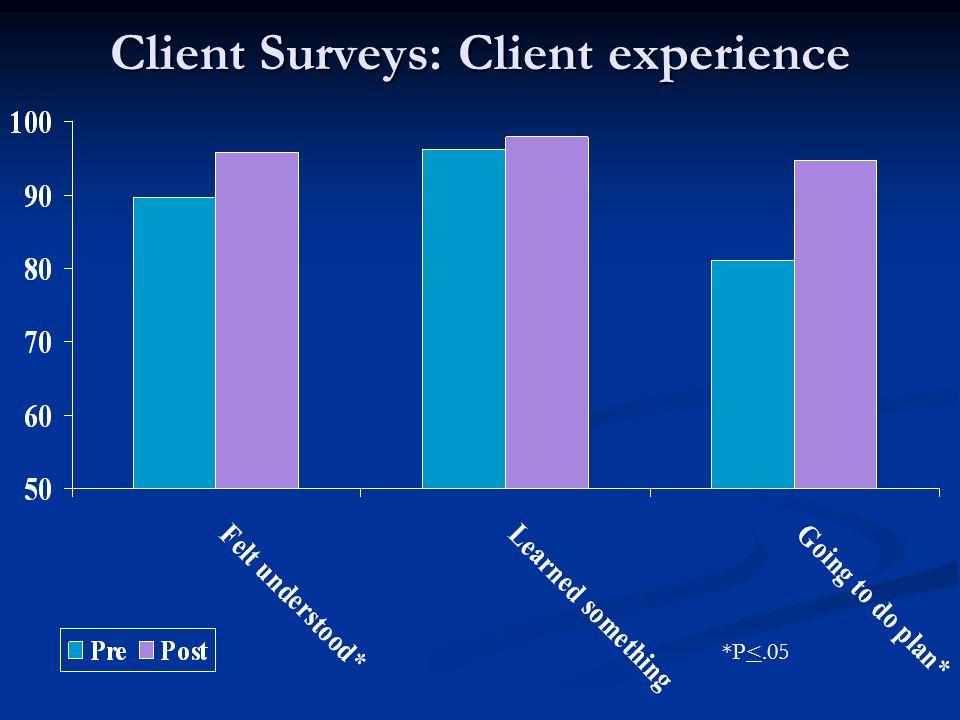 Client Surveys: Client experience *P<.05