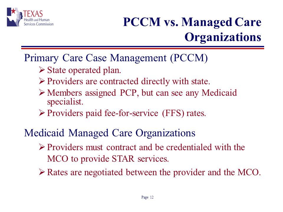 Page 12 PCCM vs. Managed Care Organizations Primary Care Case Management (PCCM) State operated plan. Providers are contracted directly with state. Mem