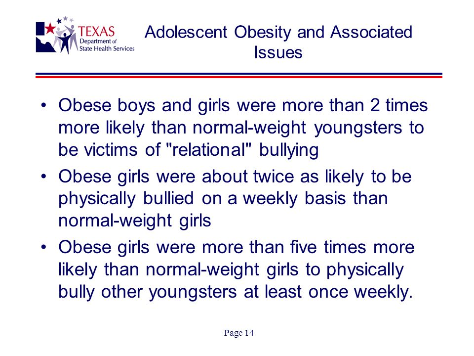 Page 14 Adolescent Obesity and Associated Issues Obese boys and girls were more than 2 times more likely than normal-weight youngsters to be victims of relational bullying Obese girls were about twice as likely to be physically bullied on a weekly basis than normal-weight girls Obese girls were more than five times more likely than normal-weight girls to physically bully other youngsters at least once weekly.