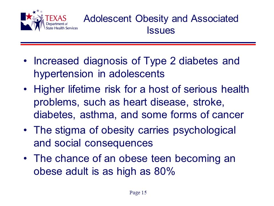Page 15 Adolescent Obesity and Associated Issues Increased diagnosis of Type 2 diabetes and hypertension in adolescents Higher lifetime risk for a hos