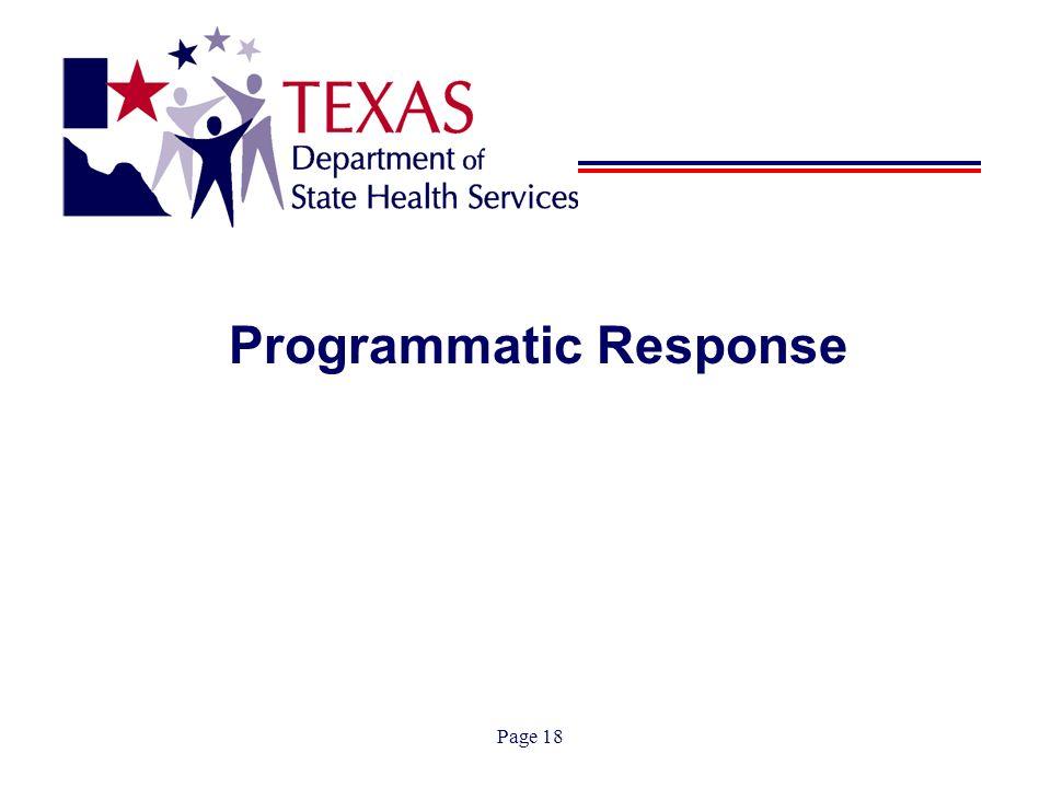 Page 18 Programmatic Response