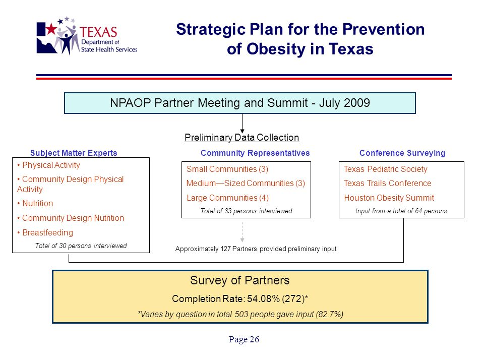 Page 26 Strategic Plan for the Prevention of Obesity in Texas NPAOP Partner Meeting and Summit - July 2009 Preliminary Data Collection Subject Matter