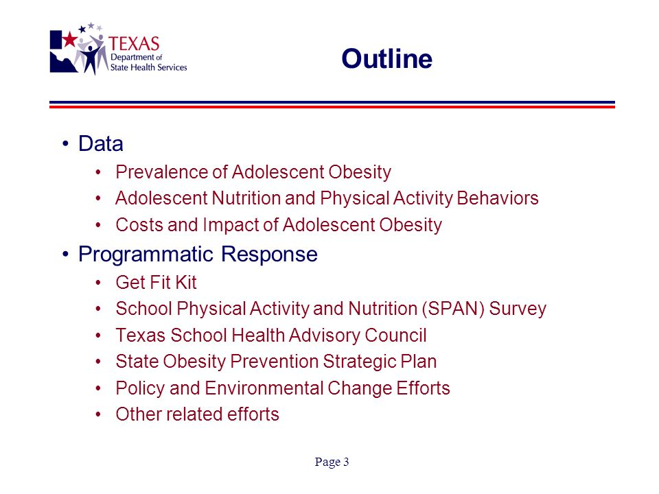 Page 3 Outline Data Prevalence of Adolescent Obesity Adolescent Nutrition and Physical Activity Behaviors Costs and Impact of Adolescent Obesity Programmatic Response Get Fit Kit School Physical Activity and Nutrition (SPAN) Survey Texas School Health Advisory Council State Obesity Prevention Strategic Plan Policy and Environmental Change Efforts Other related efforts
