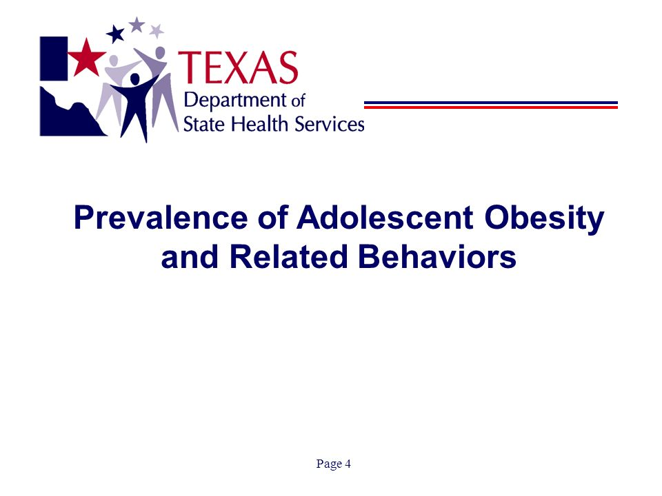 Page 4 Prevalence of Adolescent Obesity and Related Behaviors