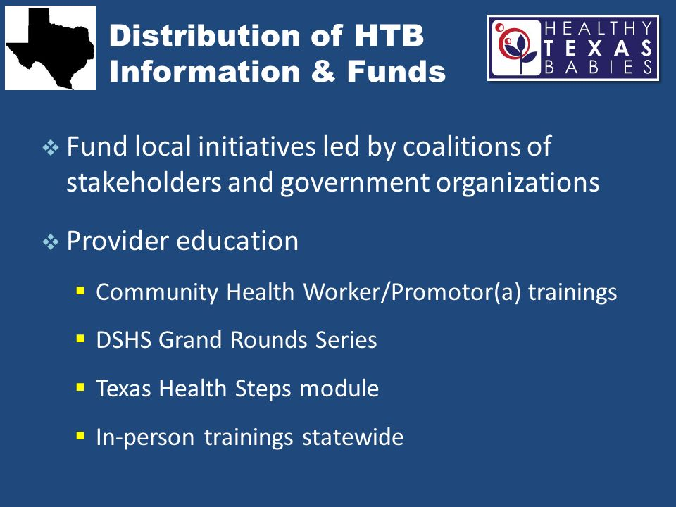 Distribution of HTB Information & Funds Fund local initiatives led by coalitions of stakeholders and government organizations Provider education Commu