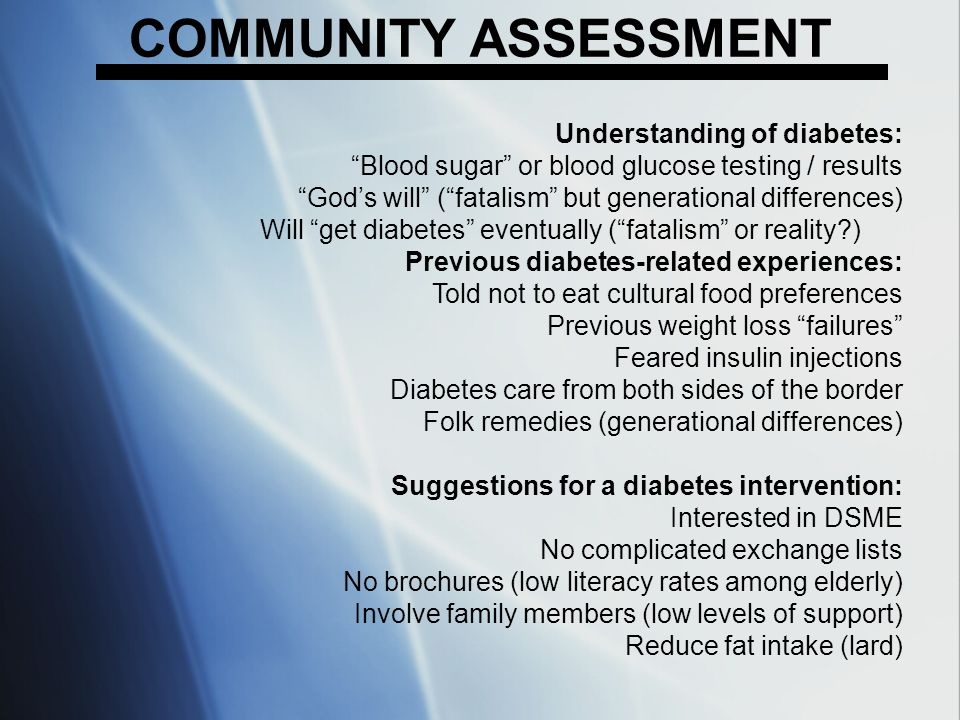 COMMUNITY ASSESSMENT Understanding of diabetes: Blood sugar or blood glucose testing / results Gods will (fatalism but generational differences) Will