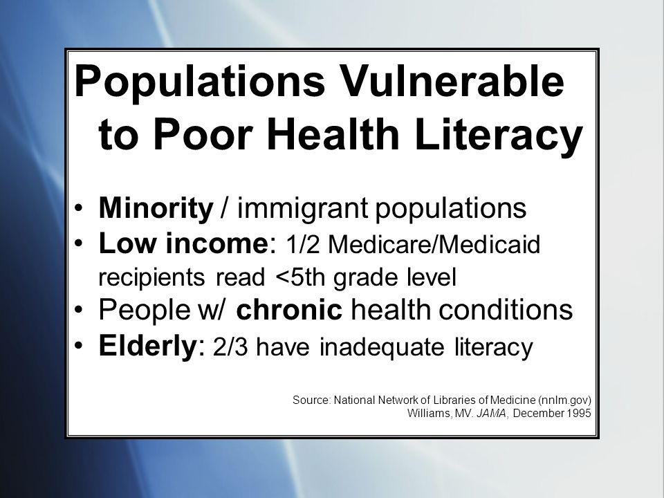 Populations Vulnerable to Poor Health Literacy Minority / immigrant populations Low income: 1/2 Medicare/Medicaid recipients read <5th grade level Peo