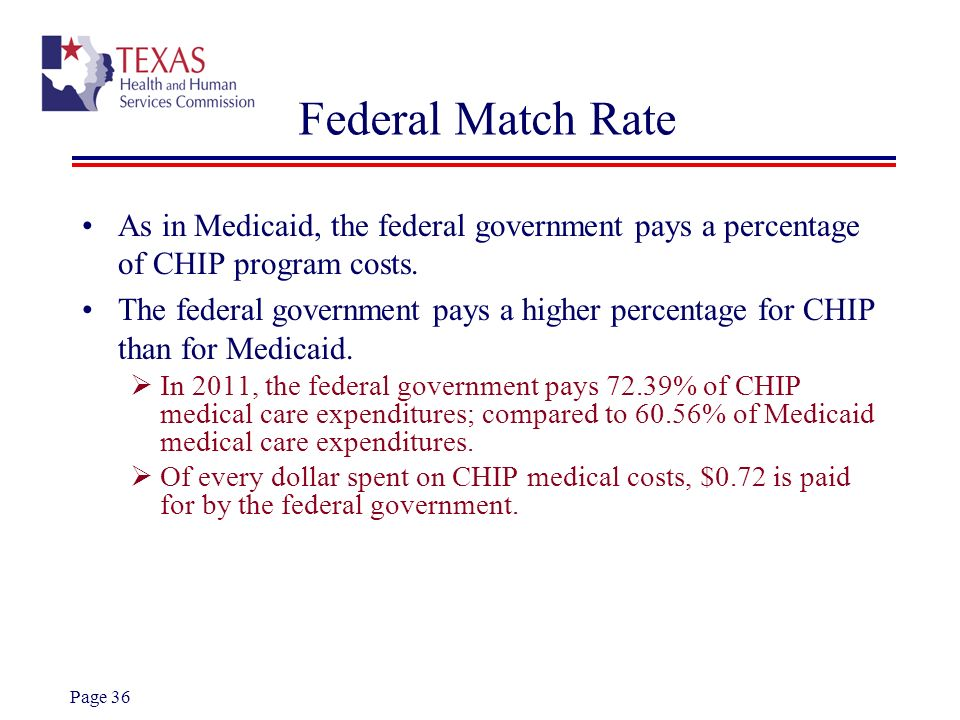 Page 36 Federal Match Rate As in Medicaid, the federal government pays a percentage of CHIP program costs. The federal government pays a higher percen