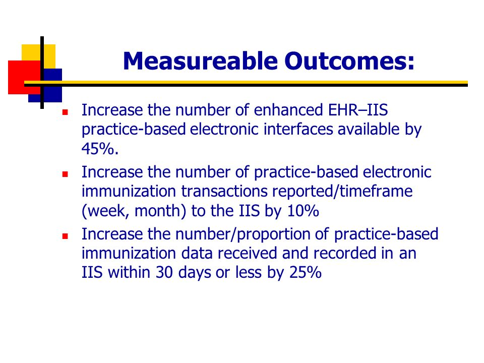 Measureable Outcomes: Increase the number of enhanced EHR–IIS practice-based electronic interfaces available by 45%.