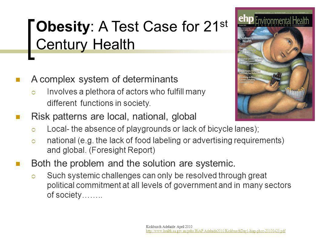 Kickbusch Adelaide April 2010 http://www.health.sa.gov.au/pehs/HiAP/Adelaide2010/KickbuschDay1-hiap-phcc-20100423.pdf Obesity: A Test Case for 21 st C