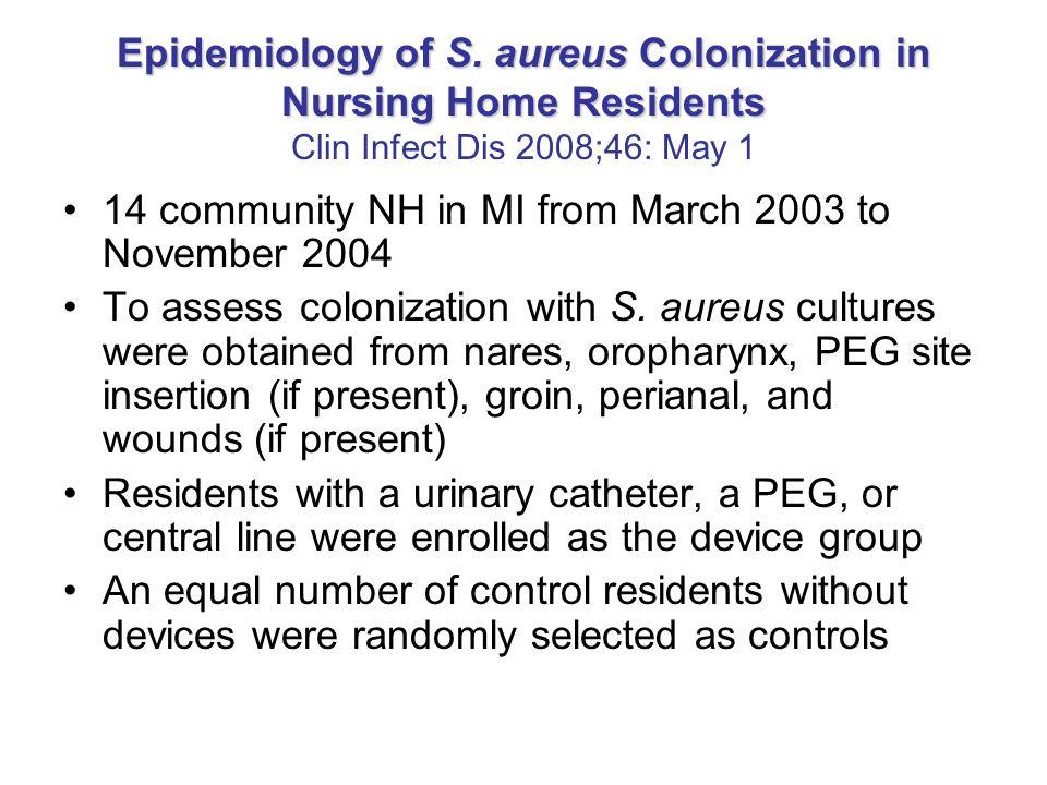 Epidemiology of S. aureus Colonization in Nursing Home Residents Epidemiology of S. aureus Colonization in Nursing Home Residents Clin Infect Dis 2008
