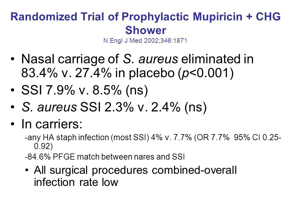 Randomized Trial of Prophylactic Mupiricin + CHG Shower N Engl J Med 2002;346:1871 Nasal carriage of S. aureus eliminated in 83.4% v. 27.4% in placebo