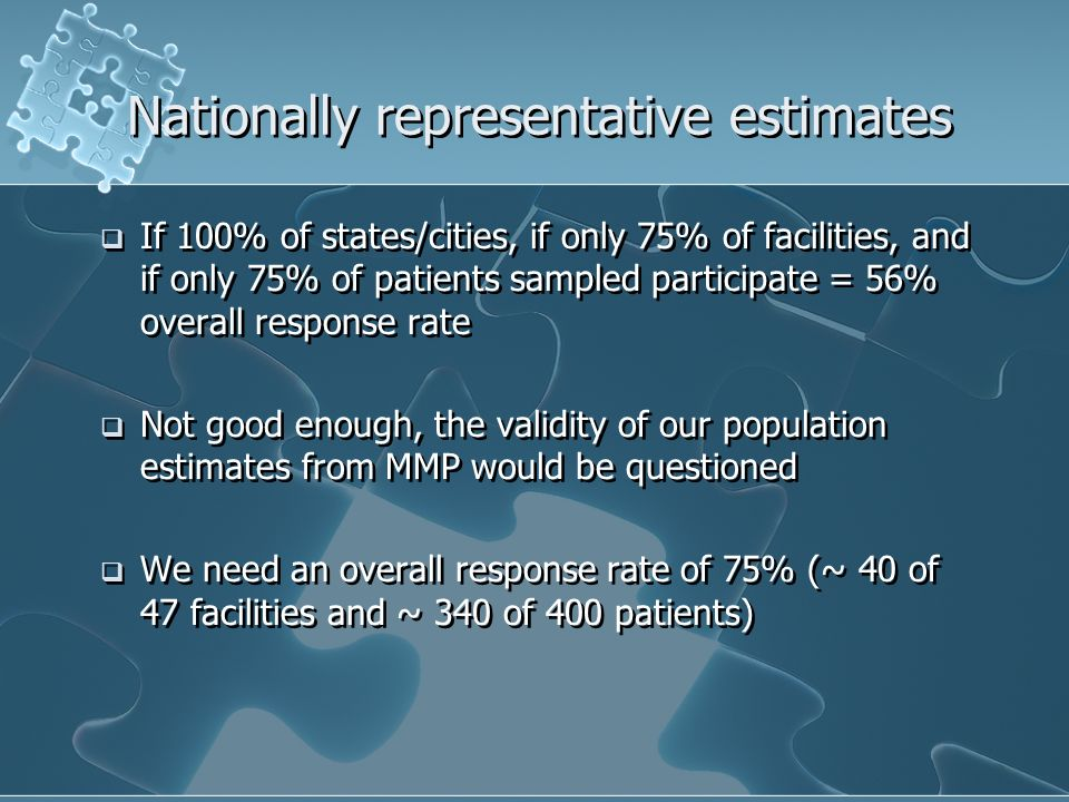 Nationally representative estimates If 100% of states/cities, if only 75% of facilities, and if only 75% of patients sampled participate = 56% overall response rate Not good enough, the validity of our population estimates from MMP would be questioned We need an overall response rate of 75% (~ 40 of 47 facilities and ~ 340 of 400 patients) If 100% of states/cities, if only 75% of facilities, and if only 75% of patients sampled participate = 56% overall response rate Not good enough, the validity of our population estimates from MMP would be questioned We need an overall response rate of 75% (~ 40 of 47 facilities and ~ 340 of 400 patients)