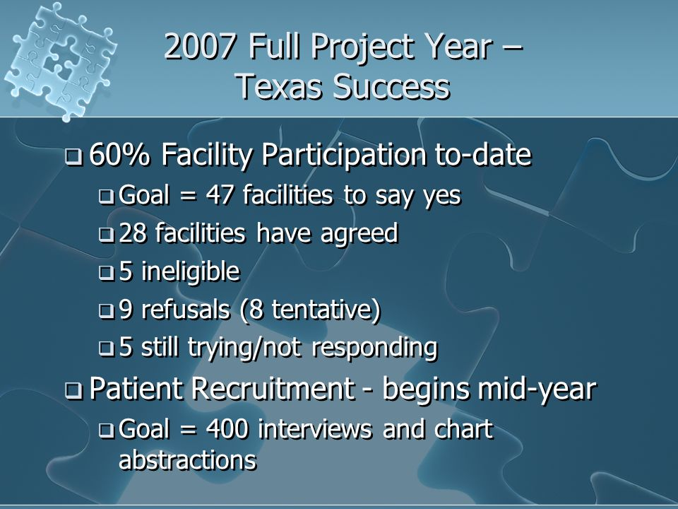 2007 Full Project Year – Texas Success 60% Facility Participation to-date Goal = 47 facilities to say yes 28 facilities have agreed 5 ineligible 9 refusals (8 tentative) 5 still trying/not responding Patient Recruitment - begins mid-year Goal = 400 interviews and chart abstractions 60% Facility Participation to-date Goal = 47 facilities to say yes 28 facilities have agreed 5 ineligible 9 refusals (8 tentative) 5 still trying/not responding Patient Recruitment - begins mid-year Goal = 400 interviews and chart abstractions