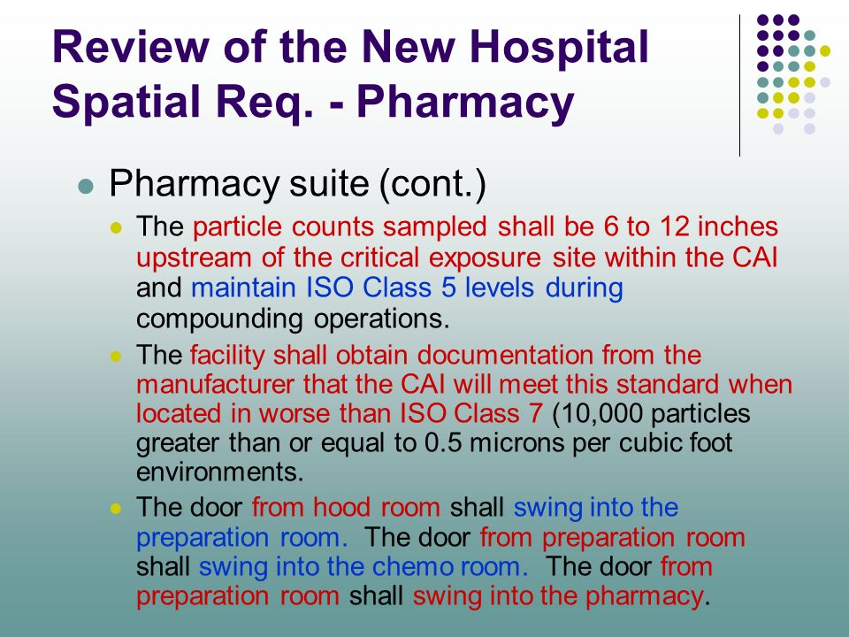 Review of the New Hospital Spatial Req. - Pharmacy Pharmacy suite (cont.) The particle counts sampled shall be 6 to 12 inches upstream of the critical
