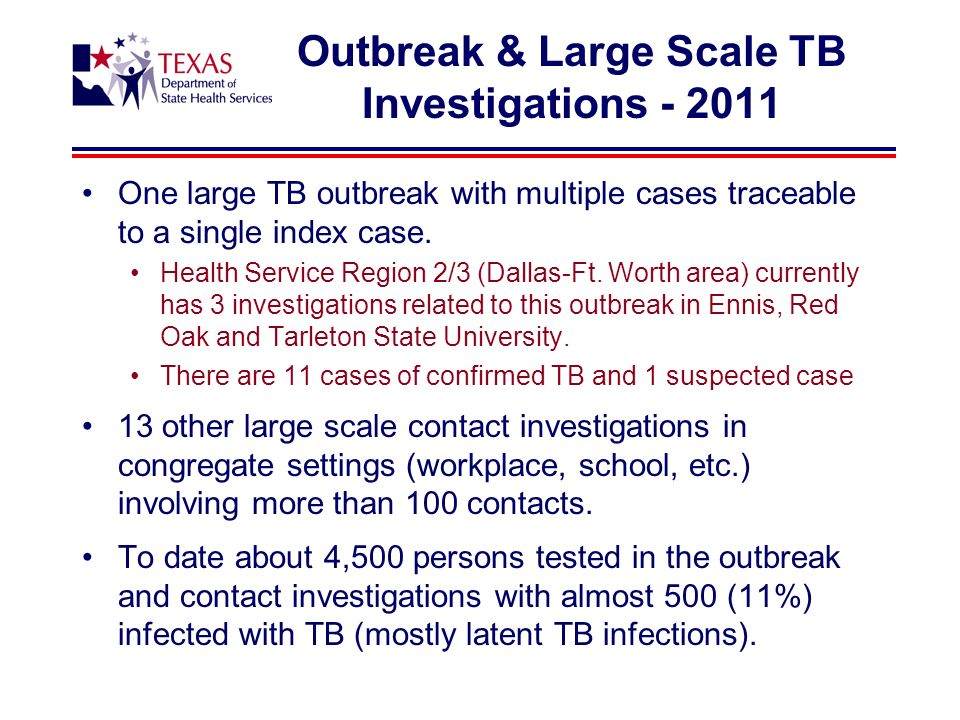 Outbreak & Large Scale TB Investigations - 2011 One large TB outbreak with multiple cases traceable to a single index case.