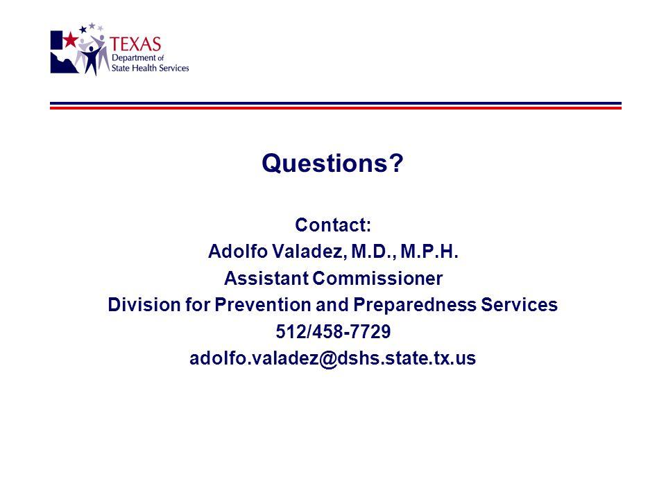 Questions. Contact: Adolfo Valadez, M.D., M.P.H.
