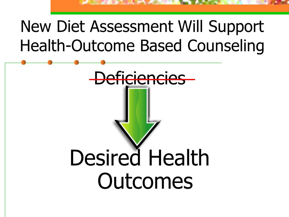 New Diet Assessment Will Support Health-Outcome Based Counseling Deficiencies Desired Health Outcomes