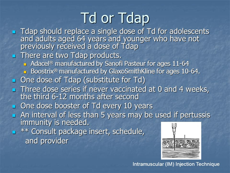 Td or Tdap Tdap should replace a single dose of Td for adolescents and adults aged 64 years and younger who have not previously received a dose of Tda