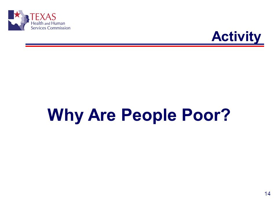 14 Activity Why Are People Poor?