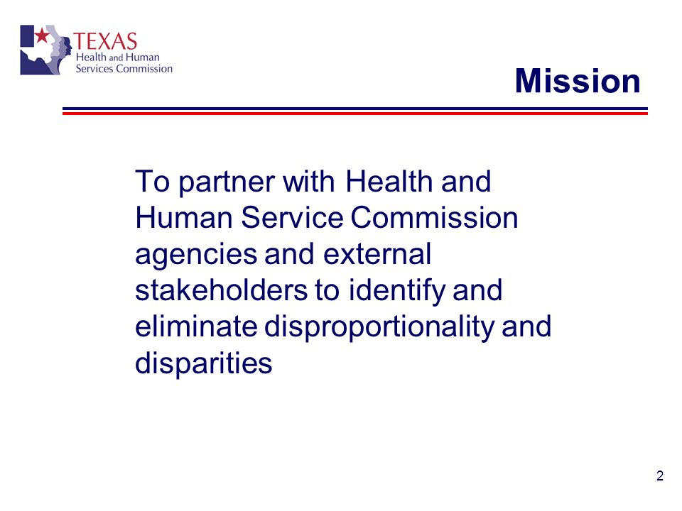 2 Mission To partner with Health and Human Service Commission agencies and external stakeholders to identify and eliminate disproportionality and disp