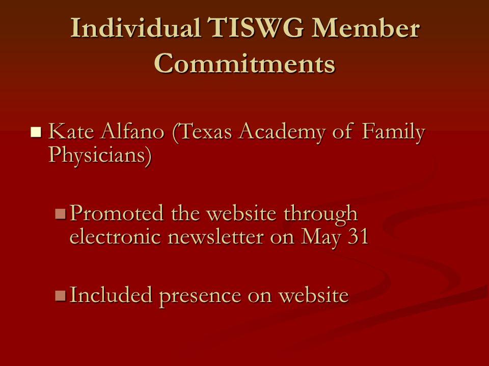 Individual TISWG Member Commitments Kate Alfano (Texas Academy of Family Physicians) Kate Alfano (Texas Academy of Family Physicians) Promoted the web