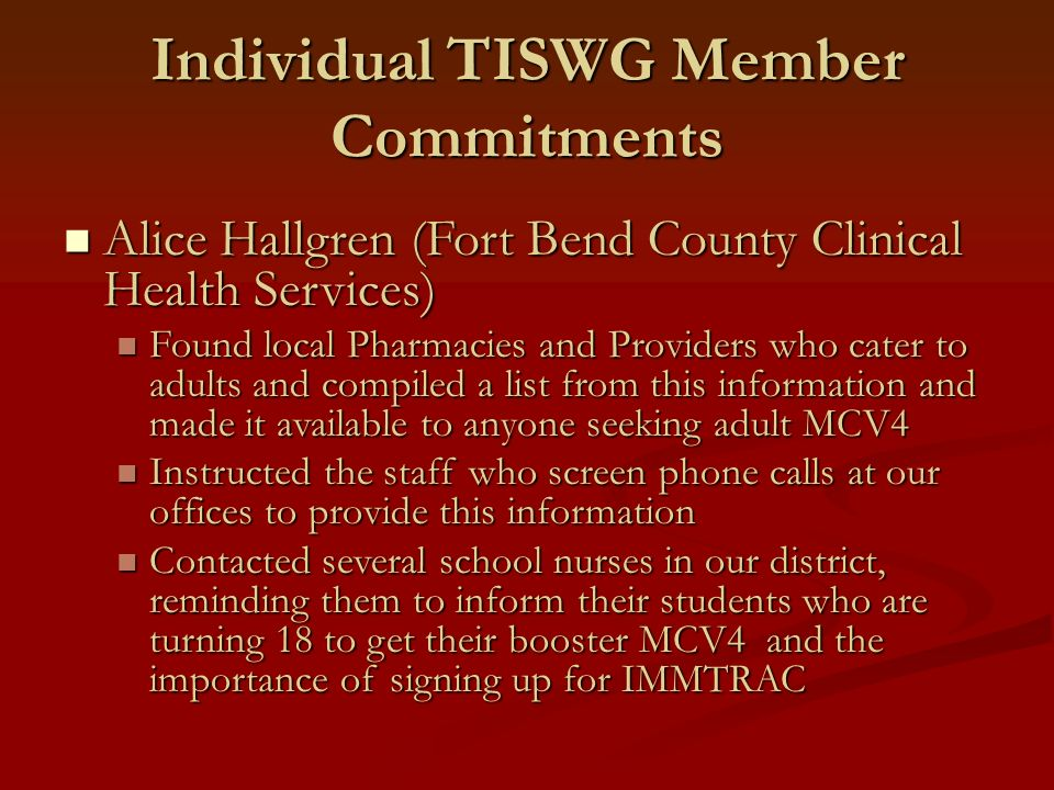 Individual TISWG Member Commitments Alice Hallgren (Fort Bend County Clinical Health Services) Alice Hallgren (Fort Bend County Clinical Health Servic