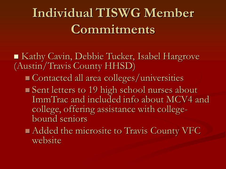 Individual TISWG Member Commitments Kathy Cavin, Debbie Tucker, Isabel Hargrove (Austin/Travis County HHSD) Kathy Cavin, Debbie Tucker, Isabel Hargrov
