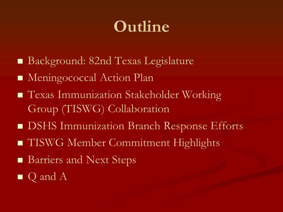Outline Background: 82nd Texas Legislature Meningococcal Action Plan Texas Immunization Stakeholder Working Group (TISWG) Collaboration DSHS Immunizat