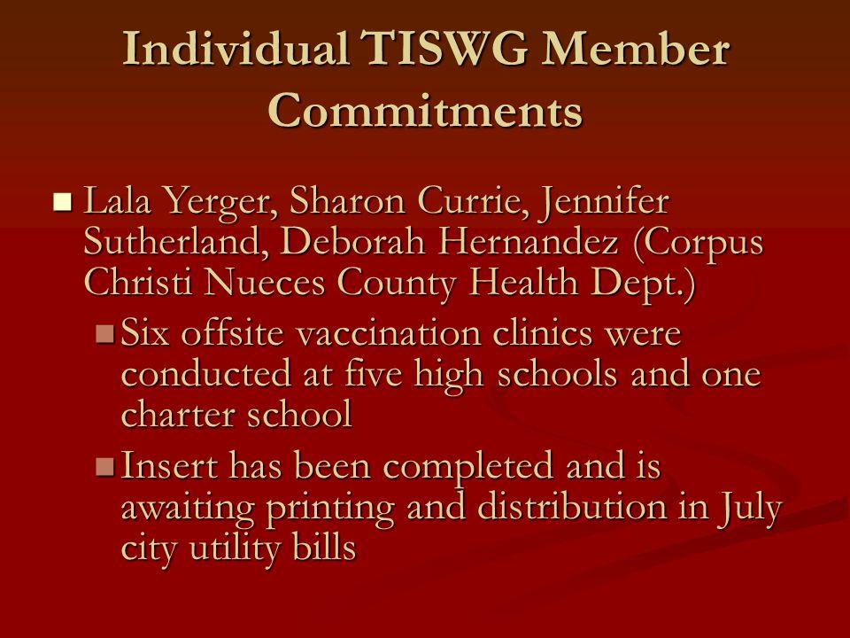 Individual TISWG Member Commitments Lala Yerger, Sharon Currie, Jennifer Sutherland, Deborah Hernandez (Corpus Christi Nueces County Health Dept.) Lal