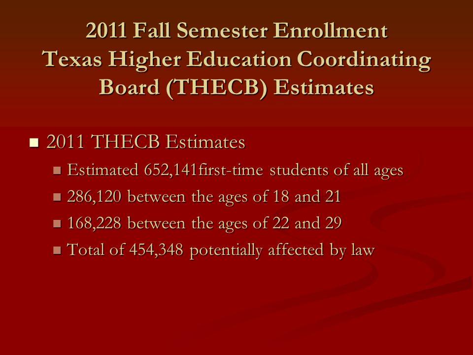2011 Fall Semester Enrollment Texas Higher Education Coordinating Board (THECB) Estimates 2011 THECB Estimates 2011 THECB Estimates Estimated 652,141f