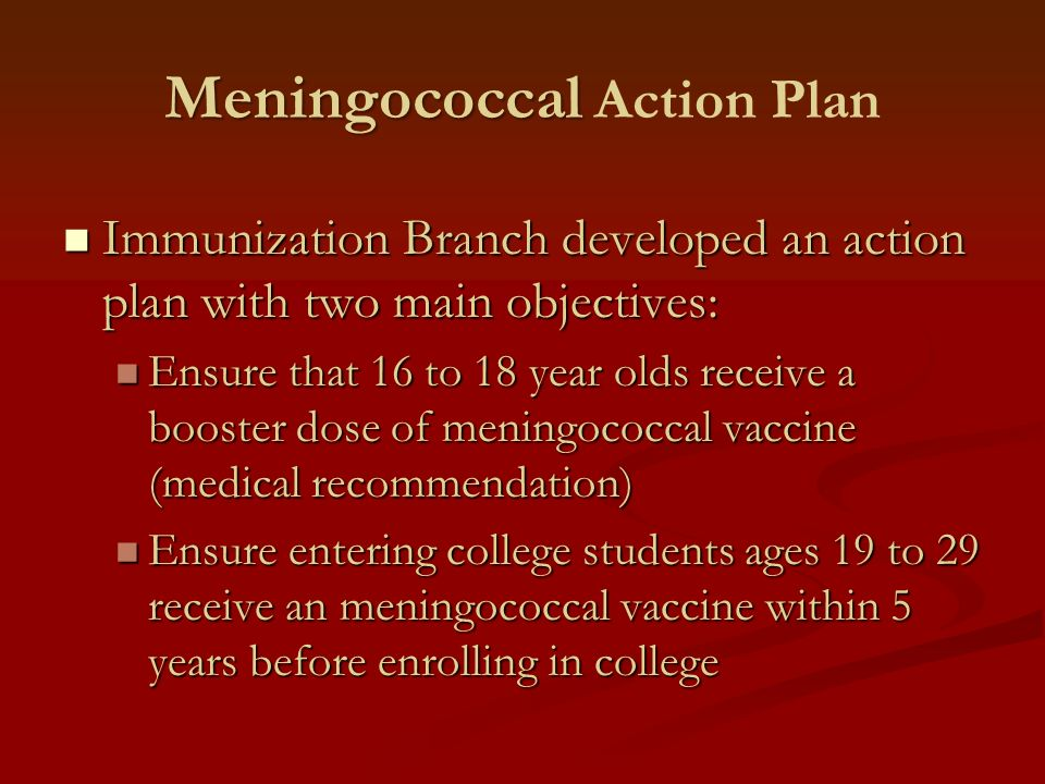 Meningococcal Meningococcal Action Plan Immunization Branch developed an action plan with two main objectives: Immunization Branch developed an action