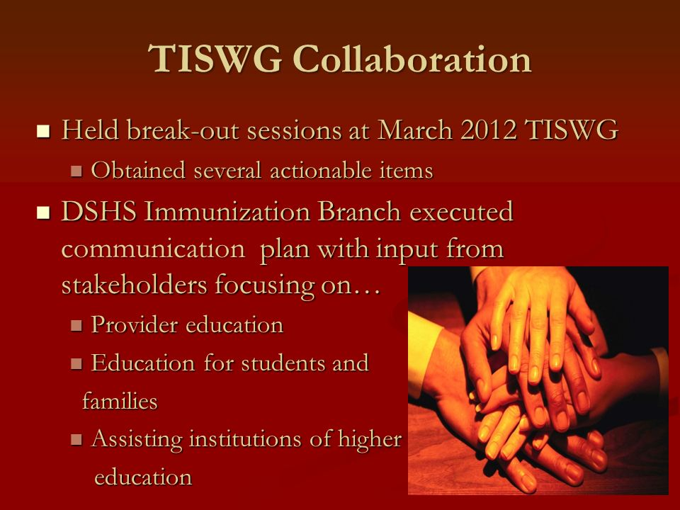 TISWG Collaboration Held break-out sessions at March 2012 TISWG Held break-out sessions at March 2012 TISWG Obtained several actionable items Obtained
