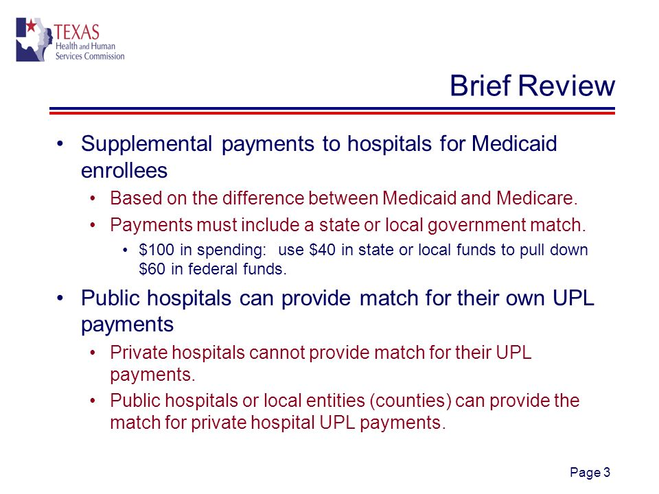 Page 3 Brief Review Supplemental payments to hospitals for Medicaid enrollees Based on the difference between Medicaid and Medicare.