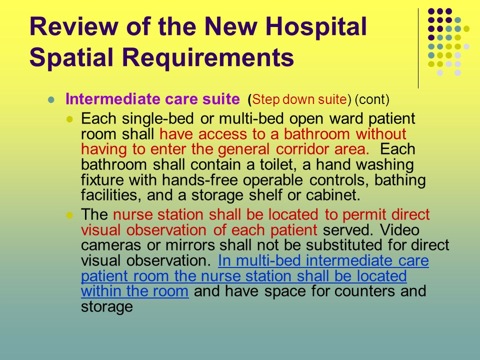 Review of the New Hospital Spatial Requirements Intermediate care suite (Step down suite) (cont) Each single-bed or multi-bed open ward patient room s