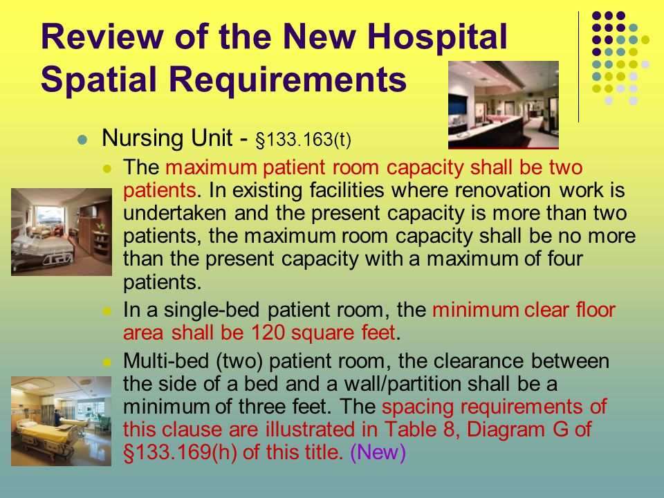 Review of the New Hospital Spatial Requirements Nursing Unit - §133.163(t) The maximum patient room capacity shall be two patients. In existing facili