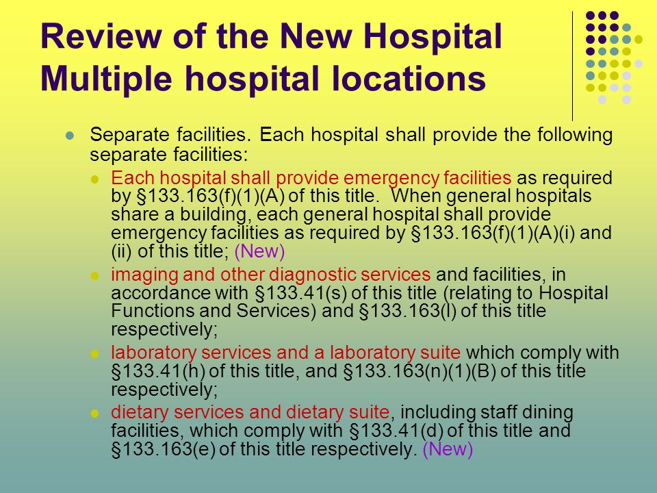 Review of the New Hospital Multiple hospital locations Separate facilities. Each hospital shall provide the following separate facilities: Each hospit